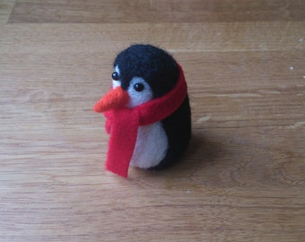 Penguin needle felted Christmas ornament gift under 25