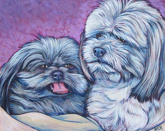 "Custom Pet Portrait Painting in Acrylic on 12"" x 12"" Canvas of Two Dogs, Cats, Rabbits, or Other Animals. Ready to Hang, painted sides, OOAK"