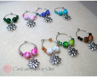 CLEARANCE Wine Glass Charms - FLowers - Wedding Gift- Hostess Gift - Housewarming Gift