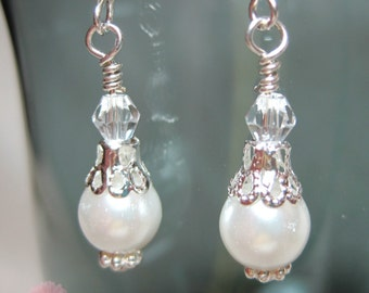 Crystal and Pearl Earrings -  White (small)