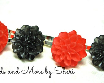Black and Red Flower Bobby Pins - 4