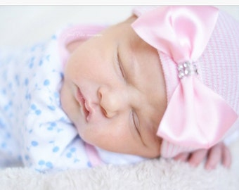 First Bow Newborn Hospital Hat (Pink Satin Bow) newborn hospital hat with bow, newborn girl hat, newborn hospital beanie, newborn bow hat