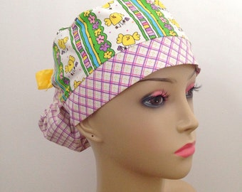 Women's Ponytail Surgical Scrub Hat - Spring Chicks and Plaid
