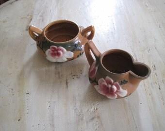 Roseville ceramic cream and sugar set