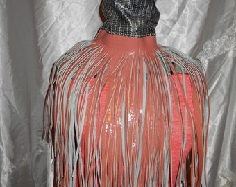 TMD: unique leather fringe  necklace...tribal, native, hippie custom order only