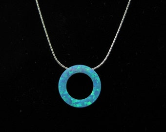Eternity Necklace Blue Opal Circle Karma Necklace on Sterling Silver Chain