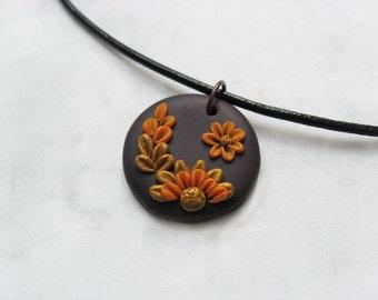 Floral pendant, Polymer clay pendant, Autumn flowers, Floral necklace, Flower pendant, Golden flowers, Embroidery necklace, Garden necklace