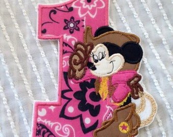 Cowgirl Minnie Mouse Inspired Iron on Appliqué