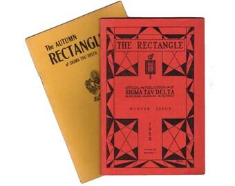 Vintage Poetry Books, Sigma Delta Tau, The Rectangle, English Fraternity, Wayne Nebraska, 1950 Book of Poems, Lot of 2