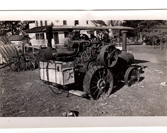 Steam Tractor Old Photo, Vintage Farm Machinery, Agricultural Equipment, Black and White, Farming Equipment Photograph, Steam Powered