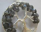 Blue Fire Labradorite Tree of Life, Labradorite & Fine Silver Pendant, Wire Wrapped Wearable Art