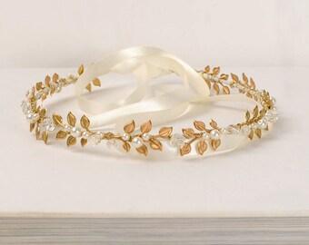 Wreath Hair Piece, Gold Bridal Headband, Beaded Laurel Leaf Headpiece, Gold Leaf Crown, Grecial Crown, Pearl and Crystal Wedding Head Piece