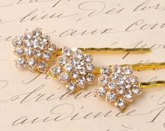Rhinestone Hair Pins, rhinestone, star, bobby pin, hair jewelry, wedding, gold, bridal, bridesmaid, hair pin, vintage, set, sparkle pins