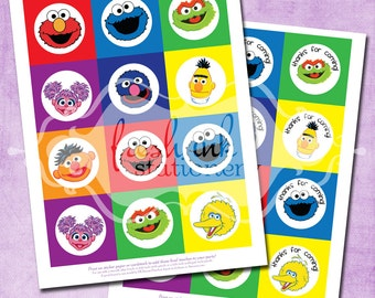 DIY Sesame Street Party Circles - INSTANT Download