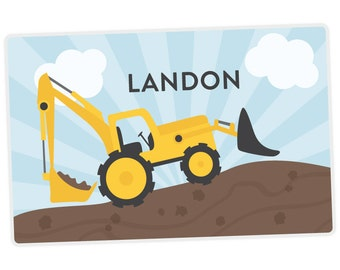 Construction Backhoe Placemat - Personalized Placemat for Boy - Construction Digger Placemat - laminated, double-sided