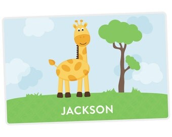 Giraffe Placemat - Personalized Placemat for Kids - Childrens Placemat - Set The Table - Laminated Placemat - Activity Placemat