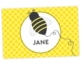 Honey Bee Placemat - Kids Personalized Placemat - Childrens Placemat - Set The Table - Activity Placemat - Laminated Place Mat