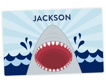 Shark Placemat - Kids Placemat - Shark Personalized Placemat for Kids - Activity Placemat - laminated, double-sided