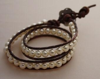 double wrapped pearl bracelet - beaded wrap - 2x pearl wrap bracelet - ships free