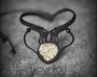 Raw Pyrite Choker Macrame Necklace