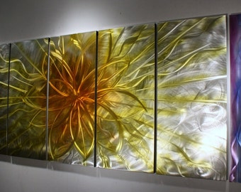 """Metal Wall Sculpture - By Wilmos Kovacs -  """" XL"""" Abstract Painting on Metal Sculpture Rainbow Metal Wall Art Decor W874"""