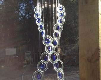 Glass Wind Chimes from RECYCLED bottles, eco friendly ,sea foam blue, wind chime, garden decor, wind chimes, musical, home decor, mobile