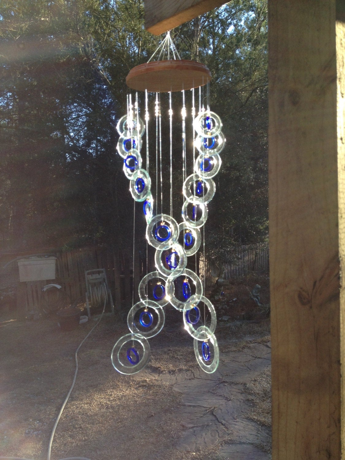 Glass wind chimes from recycled bottles eco friendly sea for Wind chimes from recycled materials
