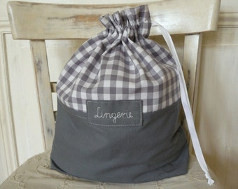 Travel laundry bag, dirty clothes bag, travel lingerie bag, checkered, grating, chequered fabric, personalized bag, 40x32cm