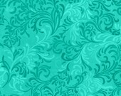 Green Floral Fabric, Essentials by Wilmington Prints, Green Fabric, Turquoise Fabric, Teal Scroll Fabric, Teal Fabric, 10062