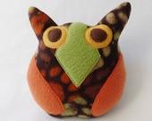 Squeaker Dog Toy Owl - Brown Body - Orange Wings