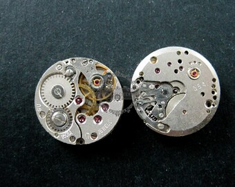 16.5mm real vintage used steam punk round watch gear movement antiqued silver cabochon DIY supplies 1830057
