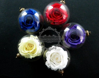 6pcs 30mm glass dome pendant with red,purple,yellow,white,blue real preserved rose blossom flower lovers vial antiqued bronze charm 1810395