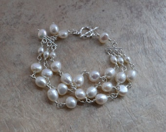 Freshwater Pearl Three Strand Sterling Silver Wire Wrapped Bracelet