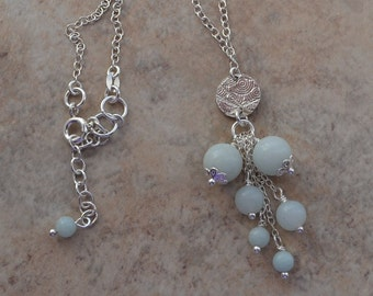 Amazonite Cluster Soft Blue Sterling Silver Chain Necklace