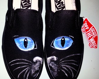 MEOOOW handpainted blue CAT eyes face black slip on brand new VANS all sizes