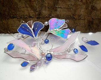 Stained Glass. Cobalt Blue and Pink Ginkgo Leaves In Forest Park. Stained Glass Suncatcher. Made To Order.