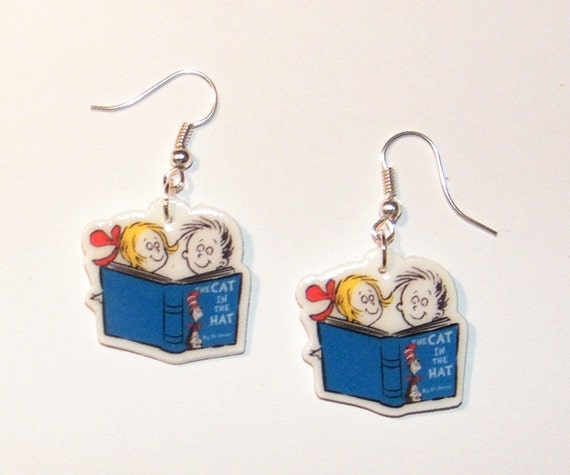 Cat in the Hat Dr Suess Birthday Earrings