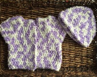 Purple and White Newborn Crochet Baby Girl Beanie and Sweater Jacket Set Short Sleeve