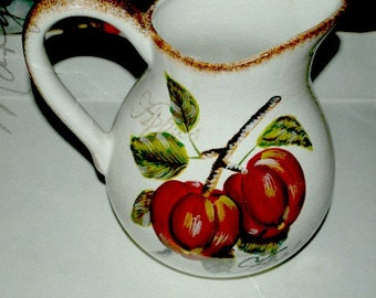 Sale apple pitcher  4 quart   ceramic big and    bold heavy  show stopper   vase, table display
