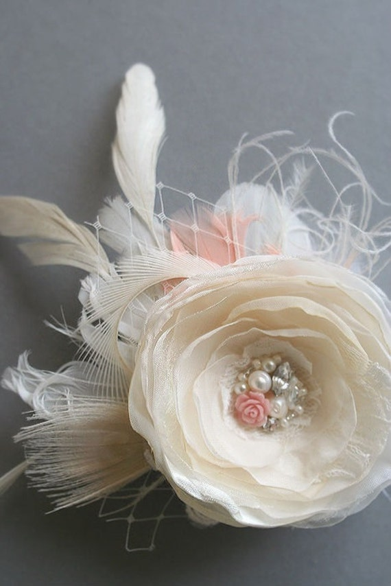 Wedding Bridal Hair Flower, Champagne Flower Fascinator Hairpiece Vintage Inspired Bridal Clip Beige Ivory Coral Peacock Lace Veil Pearls