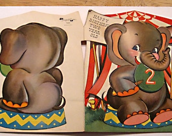 Vintage birthday card 2 year old 1950 Elephant with moving arm by Fairfield