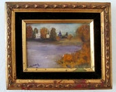 Framed Landscape Lake Painting