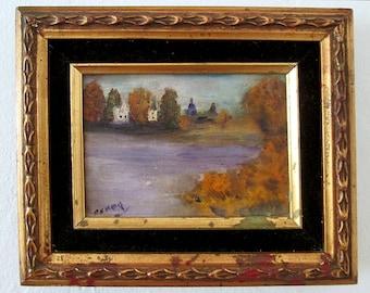 Framed Landscape Lake Painting