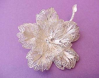 Gorgeous Large Vintage Filigree Silver Flower Brooch