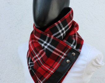 Mens cowl scarf. Unisex cowl, Blanket scarf. Plaid cotton blend in red, black and white, faux black leather, metalic snaps.Chunky  and cozy.