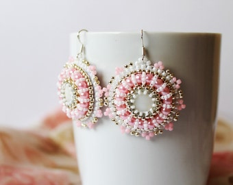White Beadwork Earrings Bead embroidery Earrings White Pink Earrings Bridal earrings Beadwork Earrings Mother of Pearl Earring  Pink Silver