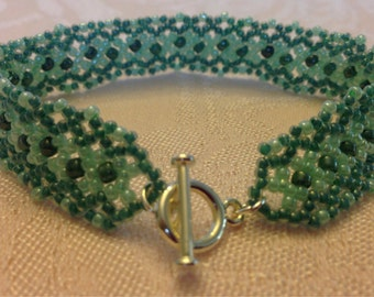 Teal and Sea Green Woven Bracelet