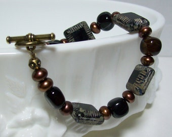 Black and Brown Bracelet. Czech Glass, Black Agate, and Freshwater Pearls.
