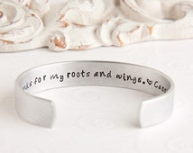 Mother Daughter Bracelet   Gift for Mother   Mother's Day Gift   Birthday Gift for Mom   Mom thanks for my roots and wings Cuff Bracelet