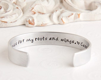 Mother's Bracelet - Mom Thanks for My Roots and Wings - Personalized Daughter to Mother Gift - Sentimental Keepsake Gift for Mom